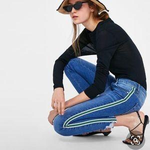 Zara skinny jeans with stripes line